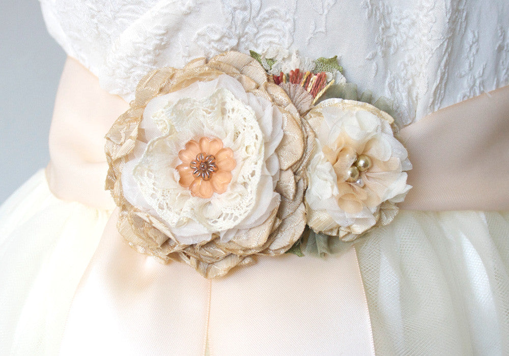 Rustic wedding bridal sash with fabric flowers