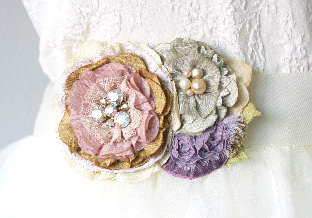 Flower Corsage Pin - Pink, Lavender, Sage Green Textile Brooch