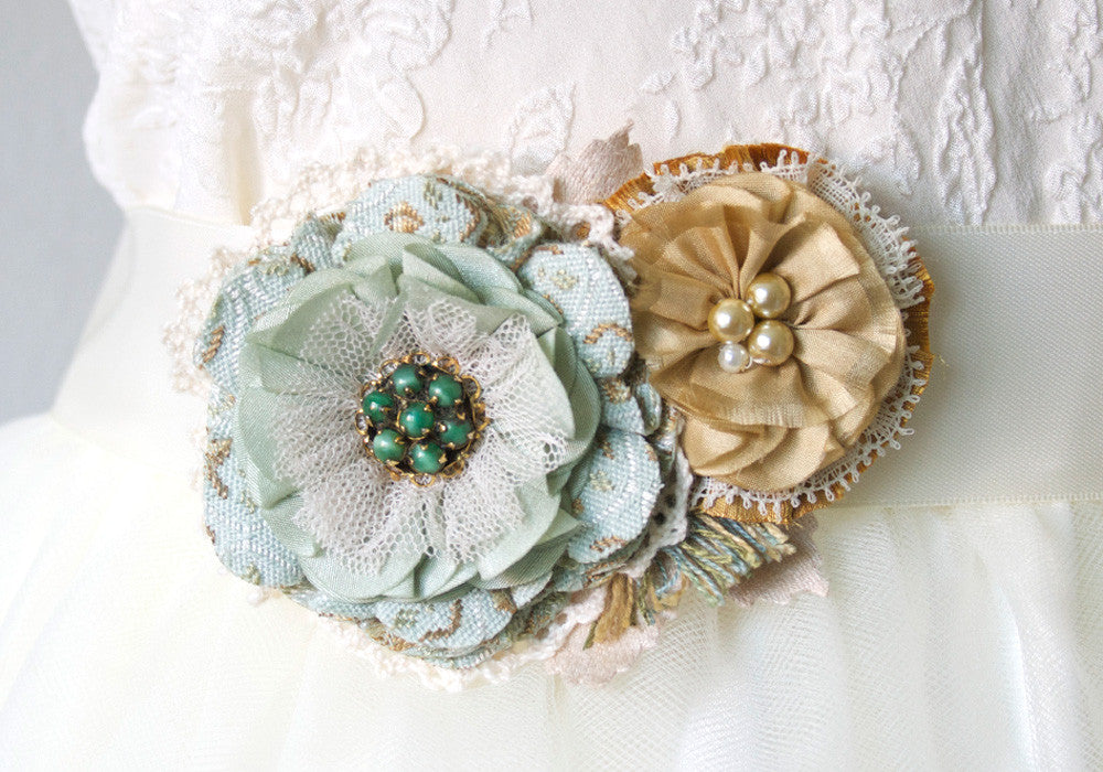 Fabric Flower Dress Pin - Mint, Sea Foam Green and Golden Yellow Flowers