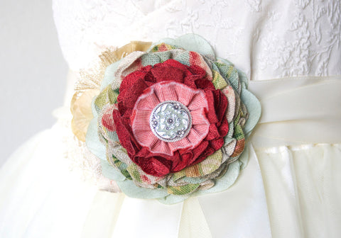 mint and red fabric flower pin