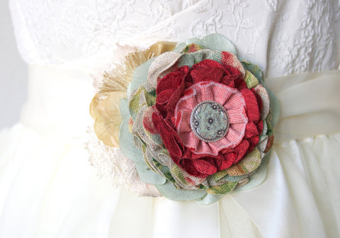 fabric flower pin in mint and red