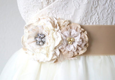 Vintage Pearl and Rhinestone Floral Bridal Sash Belt