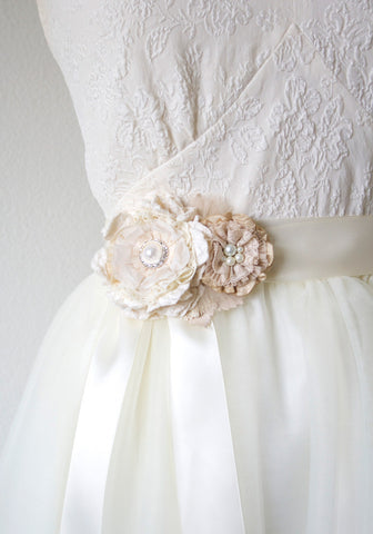 Floral Wedding Dress Sash with Pearls and Vintage Lace
