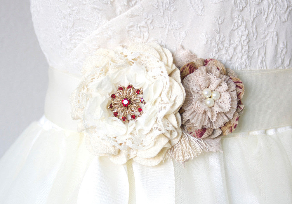 Floral Bridal Sash with Red and Burlap Fabric Flowers