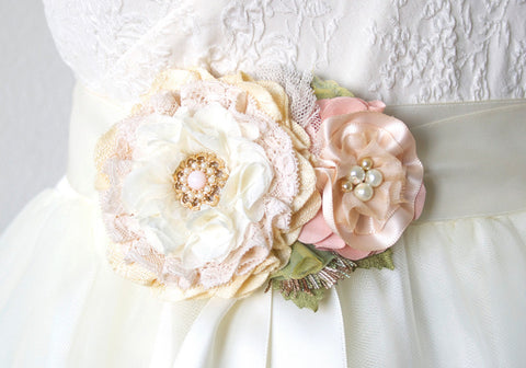 Wedding Dress Floral Sash - Blush Pink, Ivory and Cream Fabric Flowers with Pearls