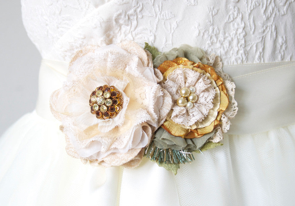 Yellow and Ivory White Floral Bridal Sash