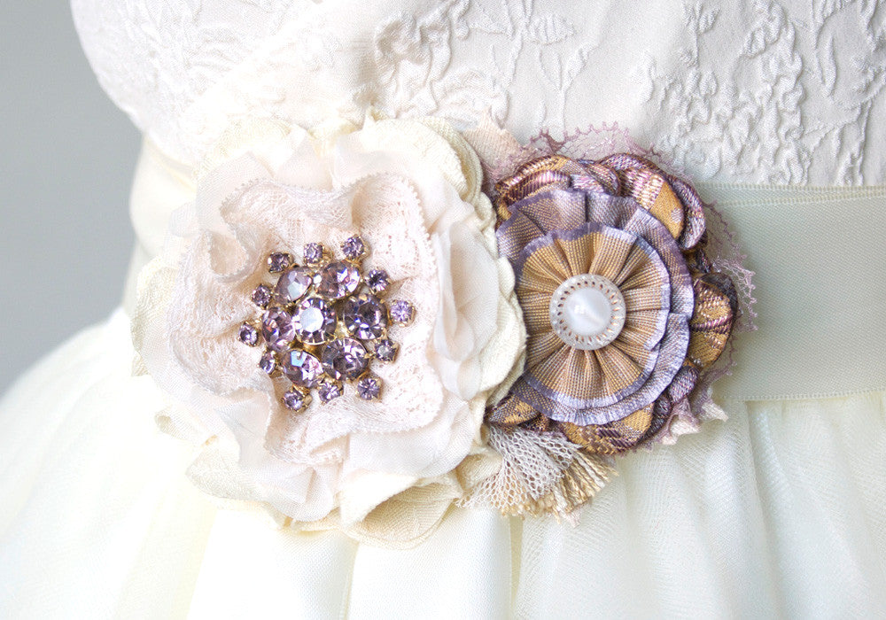 Lilac purple, gold and ivory white floral bridal belt