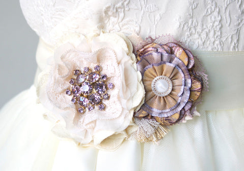 Bridal Belt - Lavender, Gold and Ivory White Blossoms