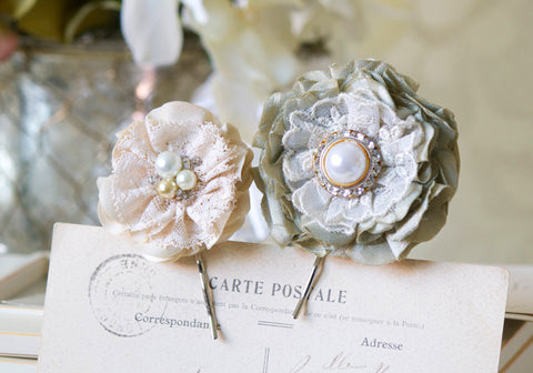 Bridal Pearl Hairpins - Sage Green and Ivory White Fabric and Lace Flowers