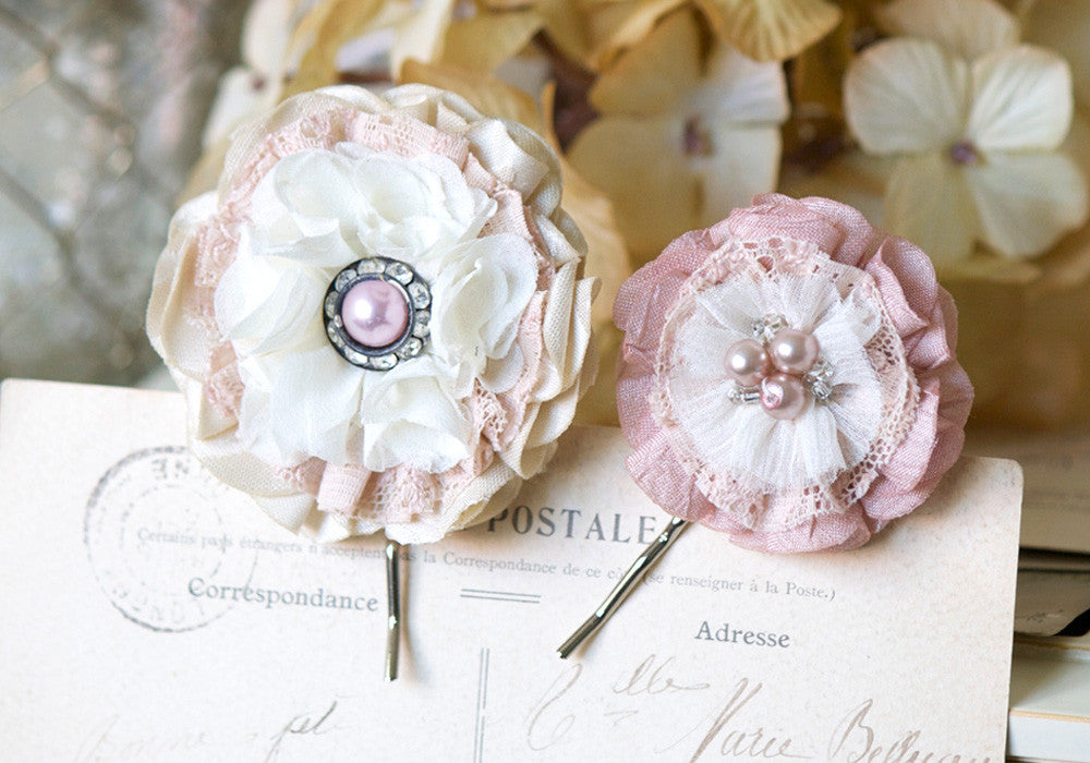 Floral Hairpins - Blush Pink, Ivory Fabric and Lace Flowers with Pearl Centers