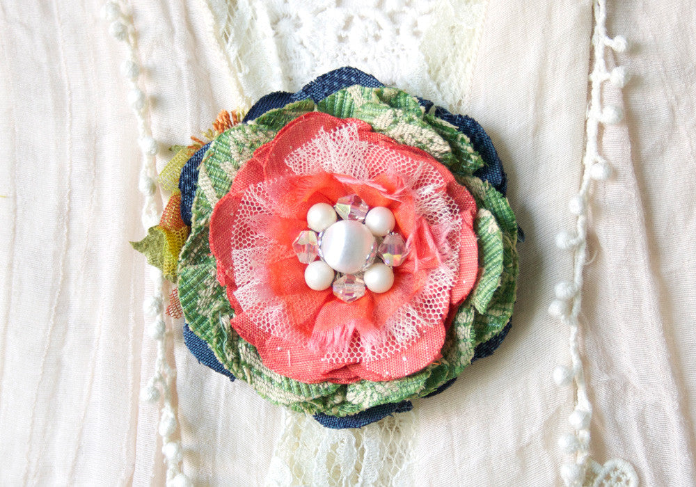 fabric flower scarf pin - coral, blue, green