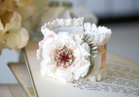 Prom Corsage - Colorful Floral Textile Bracelet with Vintage Jewel