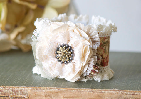 Textile Cuff Bracelet with Vintage Button