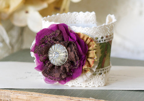 Colorful Fabric Flower Corsage in Magenta Purple, Yellow and Green