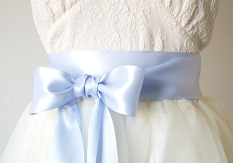 Light Blue Satin Ribbon Belt ~ 2.25 Inches Wide