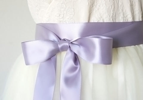 Satin Ribbon Bridal Belt - Lavender, Lilac Purple, 1.5 Inches Wide