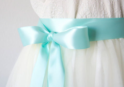 Aqua Blue Ribbon Belt ~ 1.5 Inches Wide