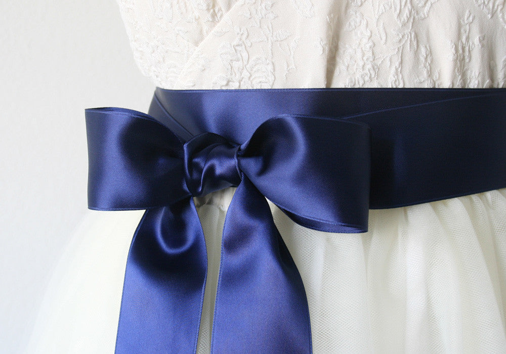 navy blue satin ribbon belt