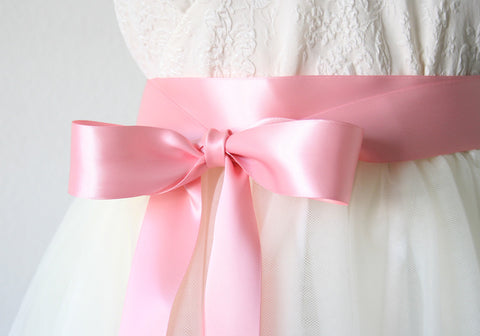 Pink Rose Satin Ribbon Sash ~ 1.5 Inches Wide