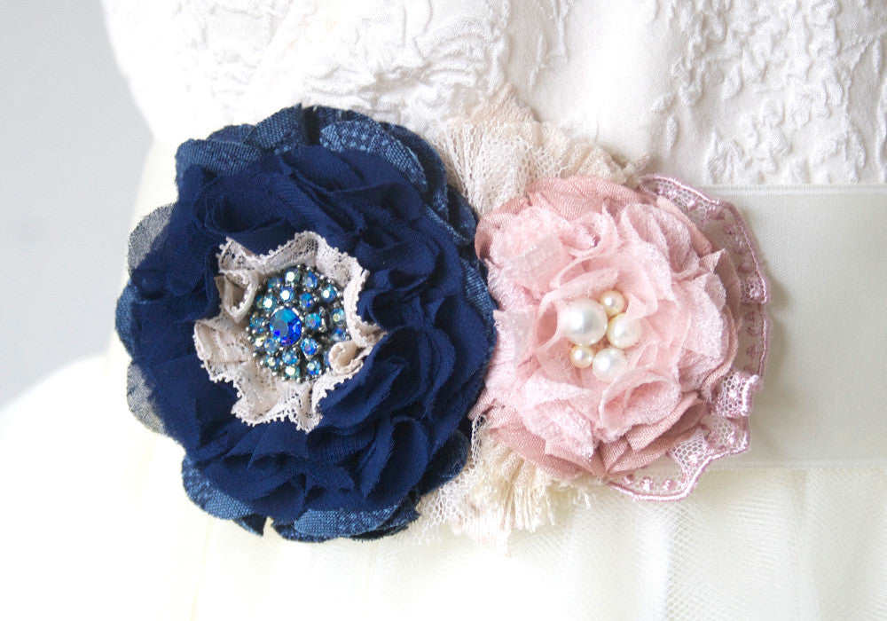 wedding dress belt with navy blue and blush pink flowers