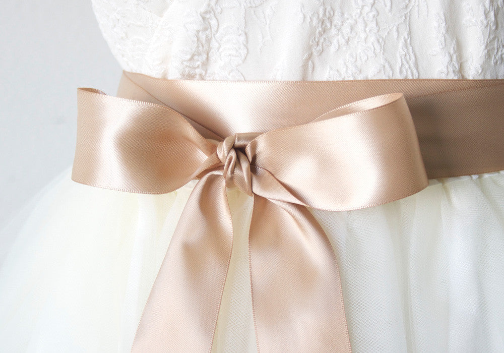 Satin Ribbon Belts For Wedding Bridesmaid Dresses Tan