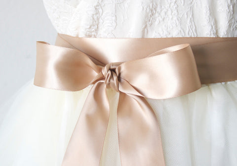 Satin Ribbon Belts for Wedding, Bridesmaid Dresses - Tan, Cafe Latte, 1.5 Inches Wide