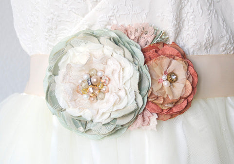 Floral Wedding Dress Sash - Coral Mint Blossoms