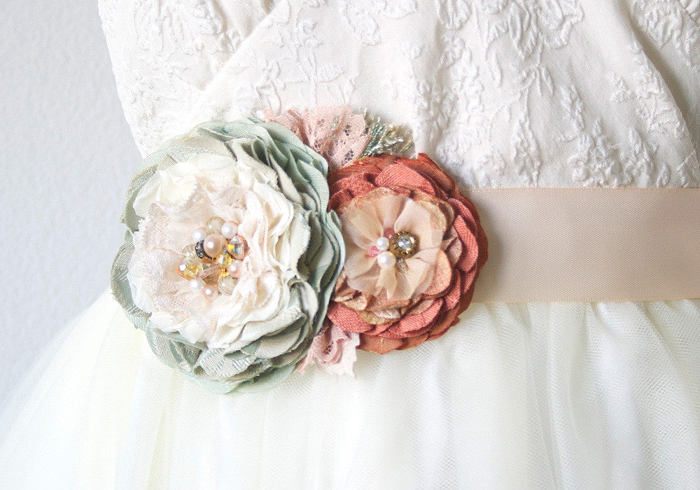 Floral Wedding Dress Sash - Peach, Mint, Pink, and Ivory Blossoms