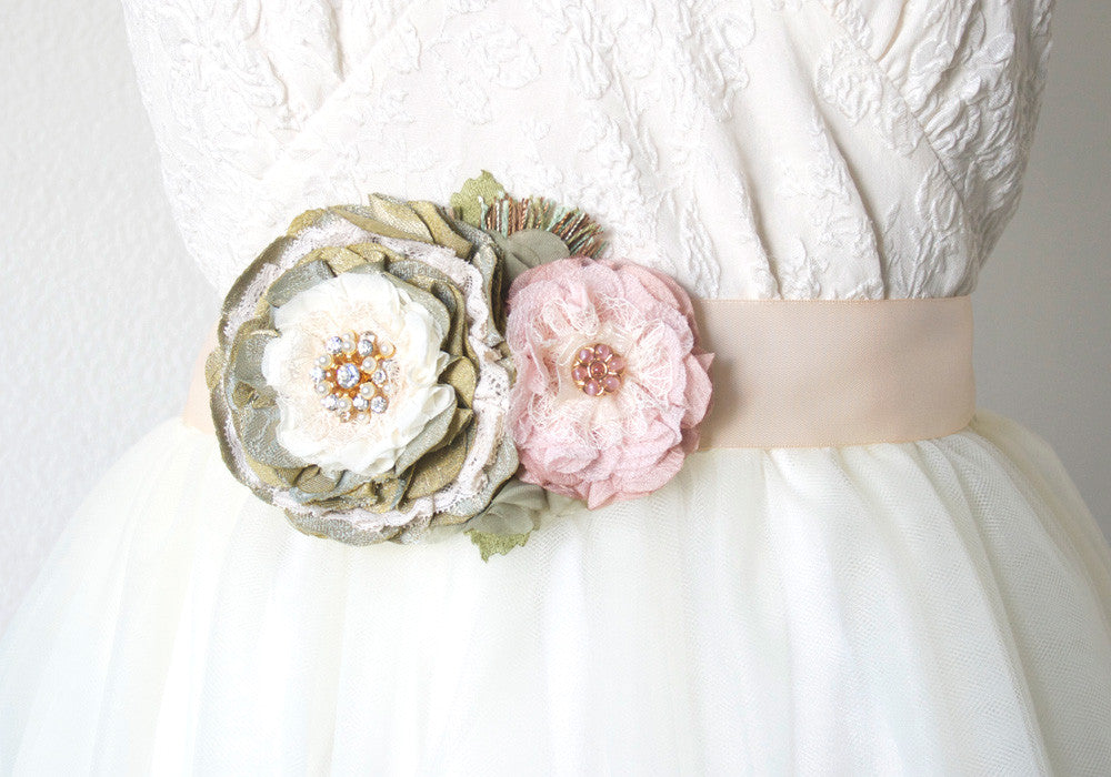 Pink and Green Floral Bridal Sash