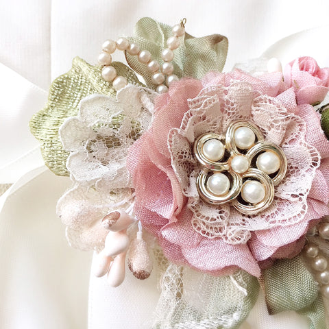 bridal sash with pink flower