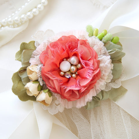 Coral Pink Bridal Belt - Tropical Blossom