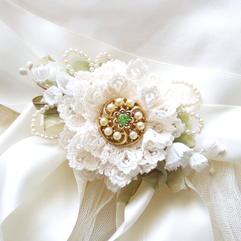 Bridal Belt with Lace Flower ~ Ivory and Green