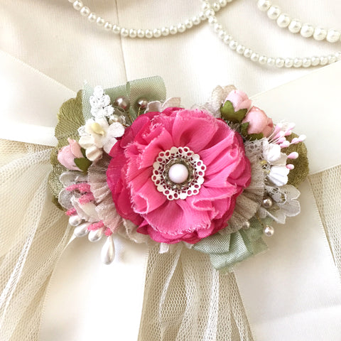 Hot Pink Floral Bridal Sash