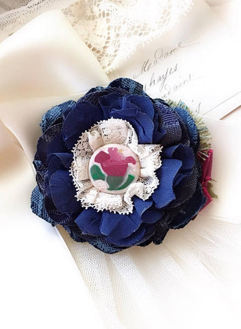 Blue Fabric Flower Brooch