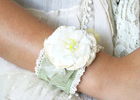 floral cuff bracelet, sage green, ivory and yellow