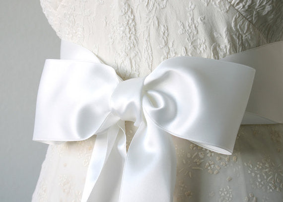 Wide Bridal White Satin Ribbon belt