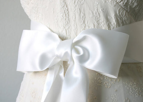 Satin Ribbon Belt - Bridal White, 2.75 Inches Wide