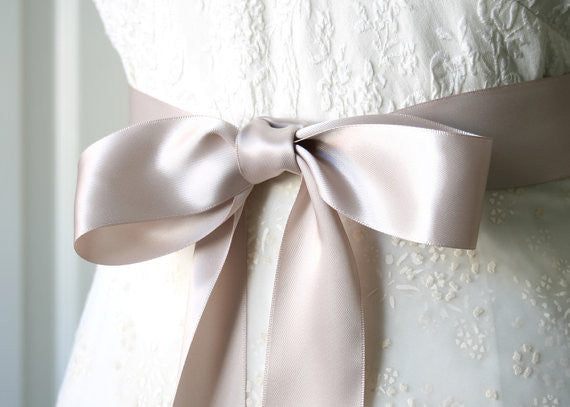 Taupe Satin Ribbon Belt 1 1/2 inches width