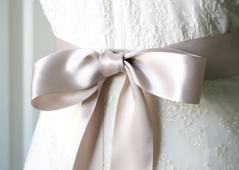 Bridal Gown Satin Ribbon Sash - Taupe, 2.25 Inches Wide