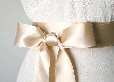 Satin Bridal Sash Belt - Light Gold, 2 Inches Wide