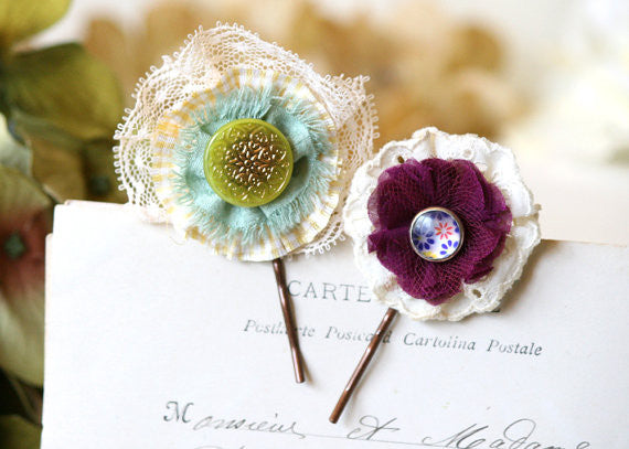 colorful fabric flower bobby pin set