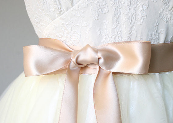 Satin Ribbon Bridal Belt - Rose Gold, 1.5 Inches Wide
