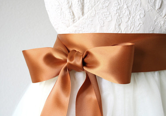 Copper ribbon sash