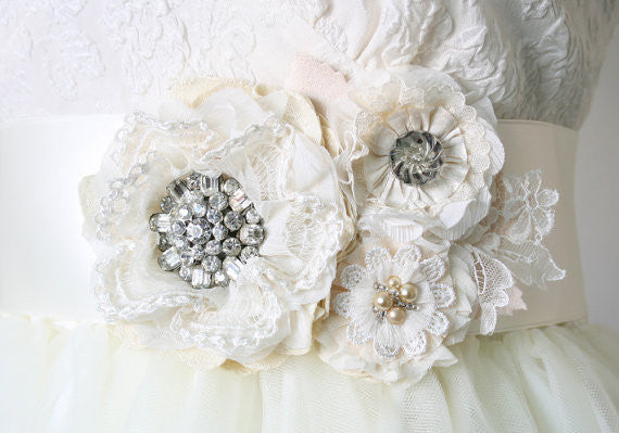 Ivory White Floral Bridal Belt with Vintage Rhinestones