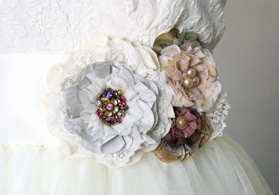 Wedding Dress Flower Sash - Grey, Peach, Ivory, Purple, Burgundy Blossoms