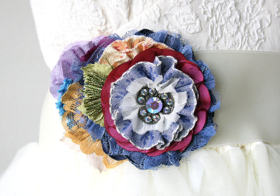 Large Fabric Flower Brooch - Colorful Garden Bloom