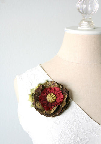 fabric flower pin with vintage button