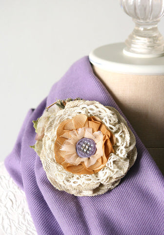 rustic shabby chic fabric flower pin