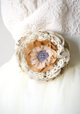 Rustic Shabby Chic Fabric Flower Pin - Lavender and Honey