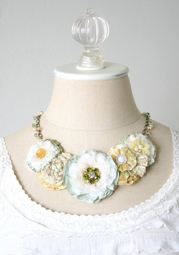 Statement Necklace - Mint, Yellow and Ivory White Flowers